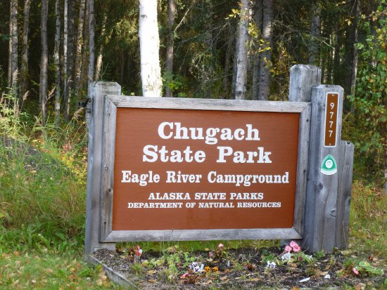 Entrance sign to Eagle River Campground