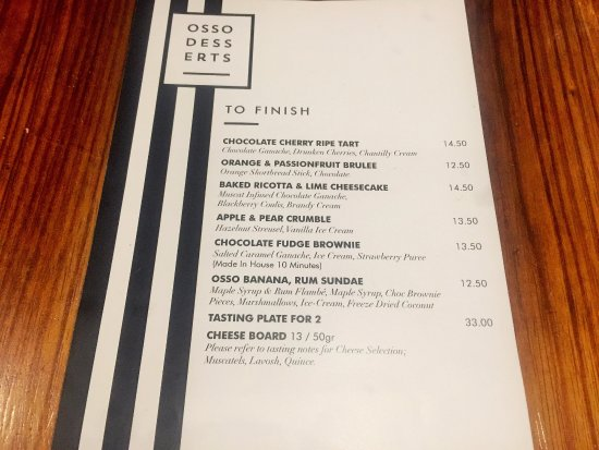 Penrith, Australia: Dessert Menu