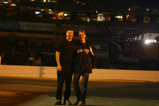 Sarah and I in Martinsville Speedway