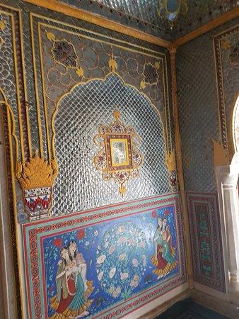 Samode, India: fresco in darbar hall