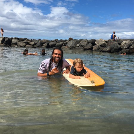 Paia, HI: Surfing with my son is the absolute best!