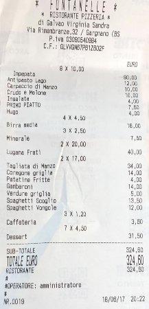 Le Fontanelle: Rechnung für 6 Erwachsene und 2 Kinder