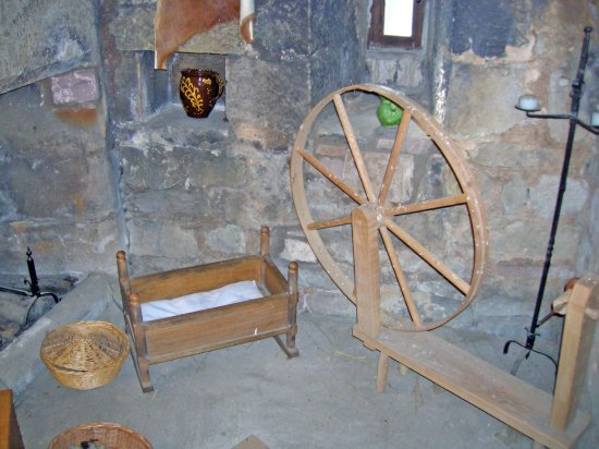 Preston Tower: Some items in the spinning room, one of the rooms inside
