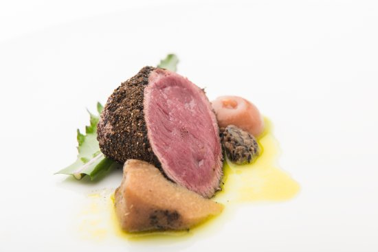 The Torridon 1887 Restaurant: Local Venison loin, khol rabi cooked in ashes, garden cabbage, rhubarb