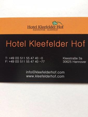 Visitenkarte Vorderseite Picture Of Kleefelder Hof Hotel