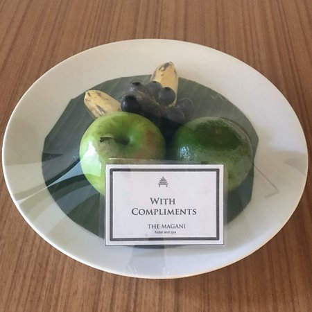 complimentary fruit plate premier pool room magani hotel and spa