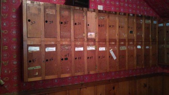 Avon, MN: Liquor bottle lockers.