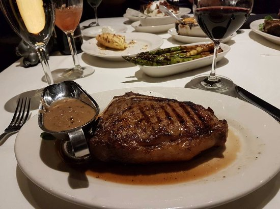 Morton's: special of sept 2017 dry aged boned ribeye with extra sauce
