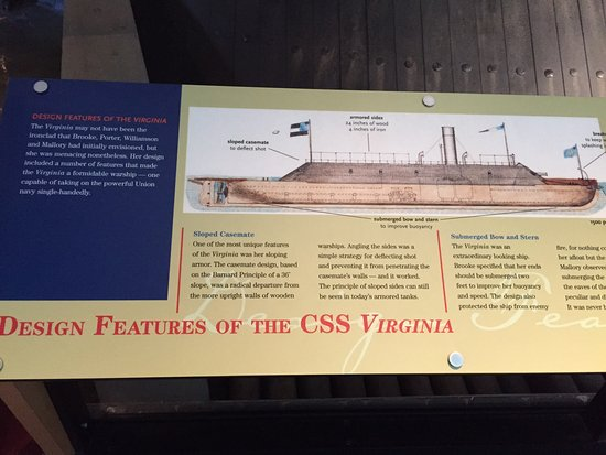 USS Monitor Center: Display about CSS Virginia who fought the USS Monitor