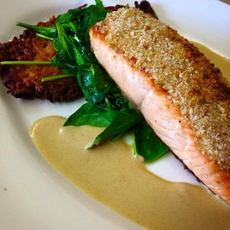 Greenwood Lake, NY: Horseradish-Crusted Salmon - Organic Scottish Salmon, potato pancake, spinach Dijon sauce.
