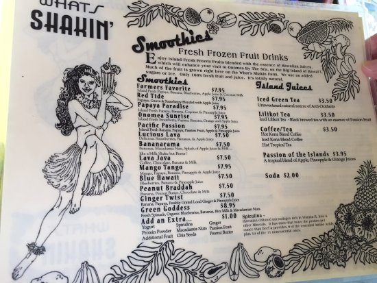 Pepeekeo, Hawái: Smoothie menu