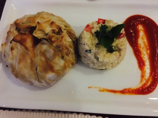 Char Grilled Veges Wrapped In A Phillo Pastry Packet And