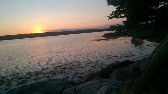 Harrington, ME: Sunset views from a bench on the walking path