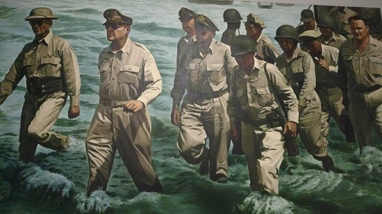 MacArthur Memorial: Picture of Mac Arthur leading the troops.