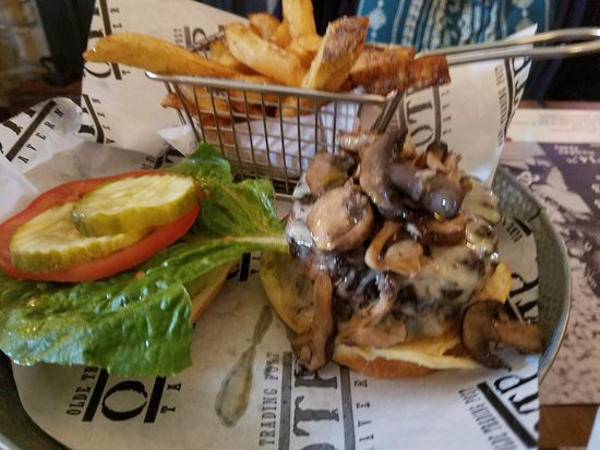 Mushroom Swiss Burger Served With Two 5 Ounce Beef Patties Mushrooms Had A Truffle Flavor