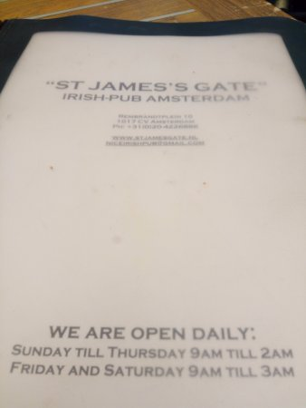 St James's Gate Irish Pub: Menu
