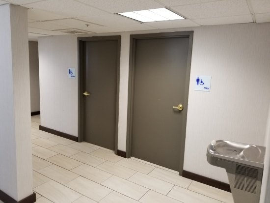 Holiday Inn Express Birch Run (Frankenmuth Area): Public Restrooms near pool and main lobby