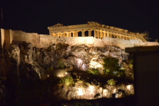 Hermes Hotel: View from the rooftop lounge of the Acropolis at night
