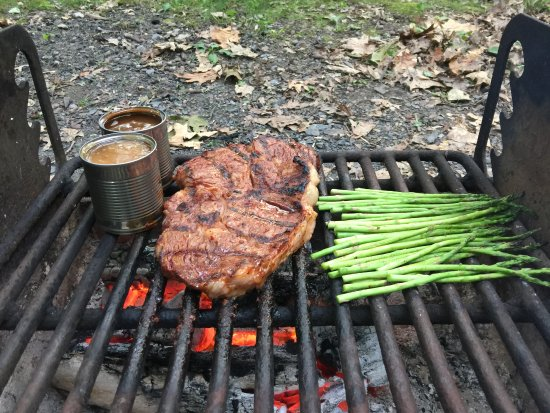 Lewis Mountain Cabins: Open fire grilling in nature is the best food you'll eat!