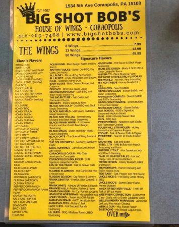 Big Shot Bob's House of Wings Coraopolis: Menu