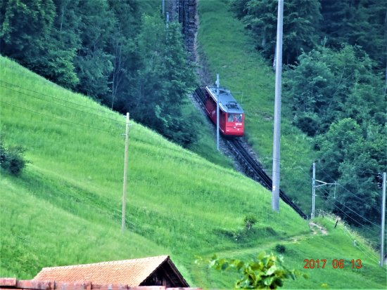 Alpnachstad, Suiza: surrounding area - cog wheel train