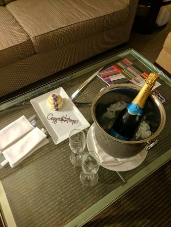 Four Seasons Baltimore: We found congratulatory champagne and mini wedding cake on our wedding night!