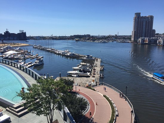 Four Seasons Baltimore: View from the upper pool deck. Beautiful Baltimore Inner Harbor.