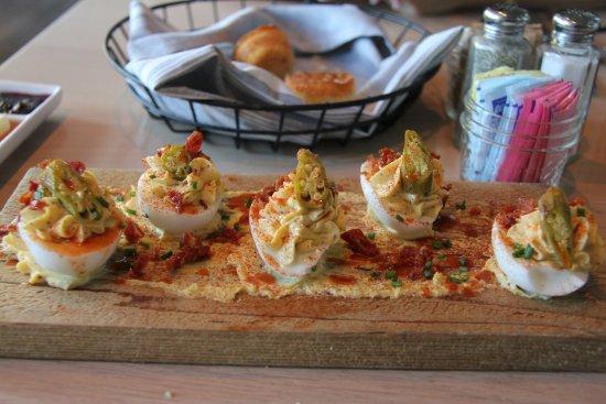 Omni Nashville Hotel: Deviled Eggs with Cracklins and Pickled Okra
