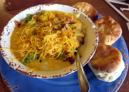 Monteagle, TN: loaded grits with 3 excellent biscuits