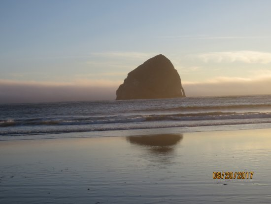 Oregon Coast, OR: Haystack Rock at sunset