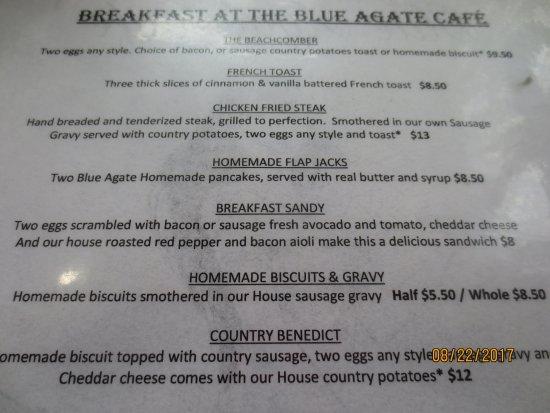 Oceanside, Орегон: menu excerpt