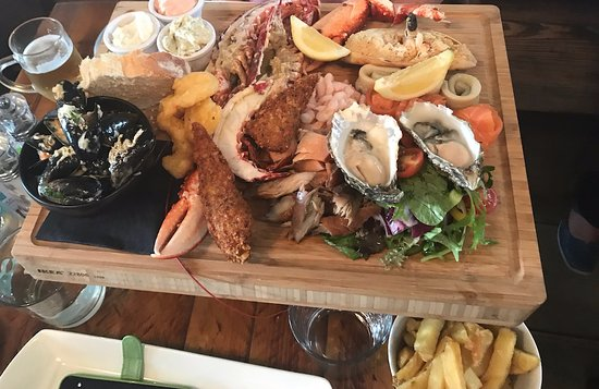 Amble, UK: Now. That's what I call a seafood platter with a whole lobster