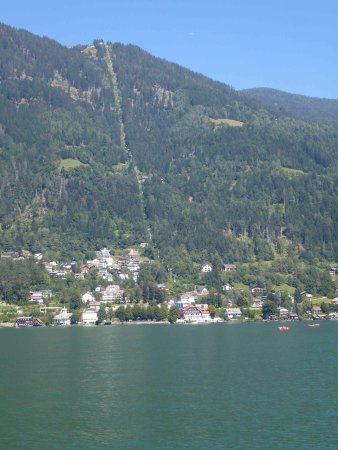 Sattendorf, Austria: The Gerlitzen Kanzelbahn seen from Lake Ossiach