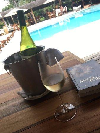 Villas de Trancoso Hotel : Vinho na sombra olhando a piscina e lendo!!!