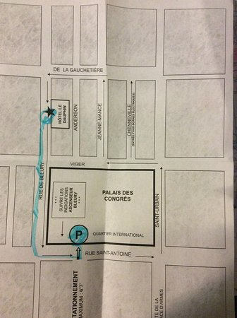 Hotel Le Dauphin Montreal Centre-Ville: Map to parking