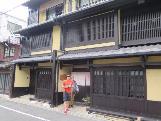 Kyomachiya Ryokan Sakura Honganji: Two of our party of three outside the Ryokan main entrance September 17, 2017.