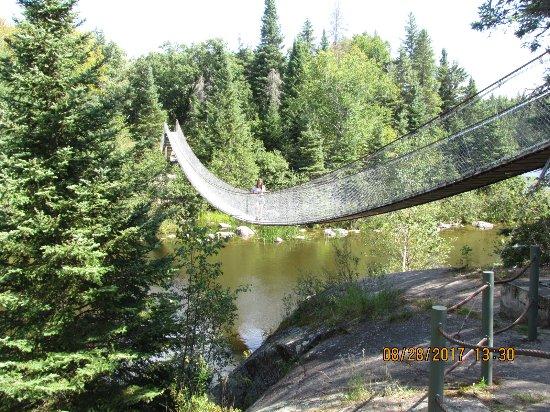 Swinging bridge at Pinawa, Manitoba, Canada.