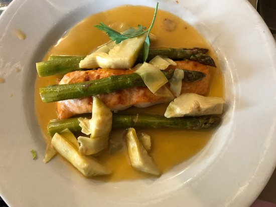 Hartsdale, NY: Salmon Pastina with artichokes and asparagus in a delicate sauce
