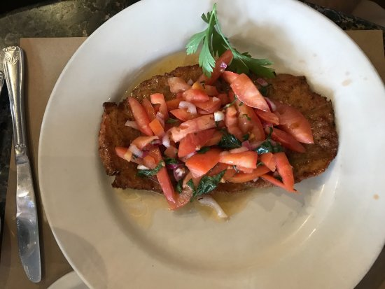 Hartsdale, NY: Chicken Milanese topped with fresh chopped tomatoes