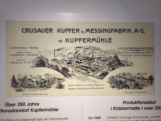 Harrislee, ألمانيا: Fra planchen med hovedpunkterne hvad der er sket gennem de 350 år der har været produktion på st