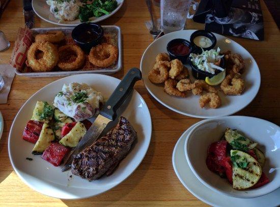 Rutland, VT: 8oz. steak, onion rings, shrimp and double veggies. Yum!