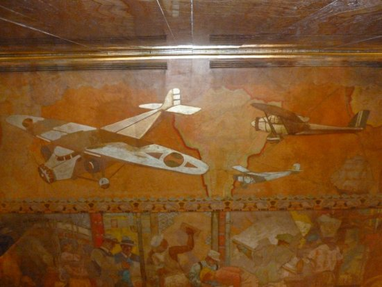 Chrysler Building: lobby ceiling painting of transportation