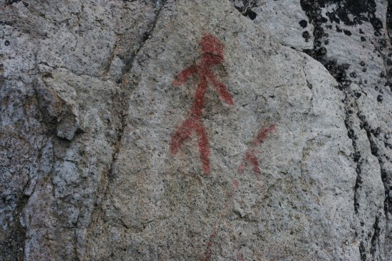 Chapleau, Canada: 1000 year old native pictographs at Fairy Point