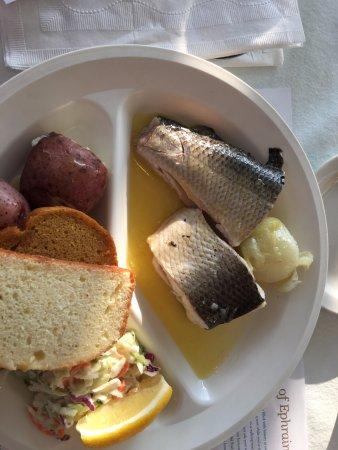 whitefish, potatoes, cole slaw, sweet bread
