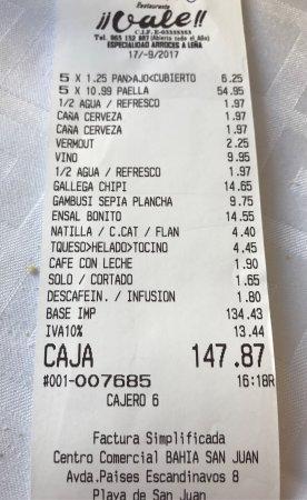 Vale!! Restaurante : Cuenta! Los precios no cuadran con los de la web