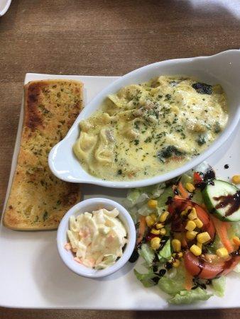 Beddgelert, UK: Tortellini with blue Stilton and cream cheese bake
