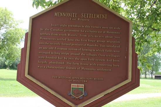 Steinbach, Canada: Explanatory sign near the entrance to the village itself.