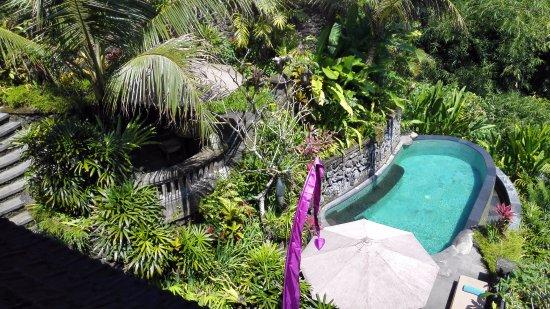 Bidadari Private Villas & Retreat: View on the private pool from the living room