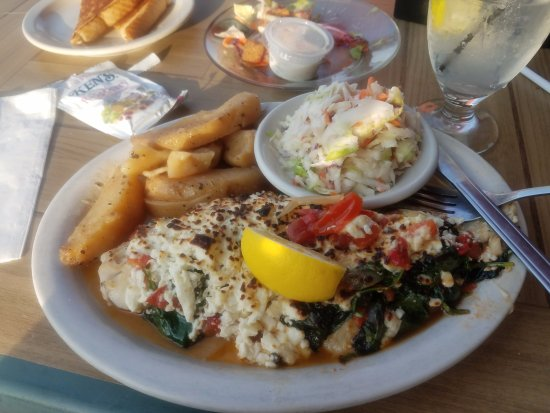 Dunkirk, NY: Broiled fish with feta, spinach, and tomatoes. Greek Potatoes.