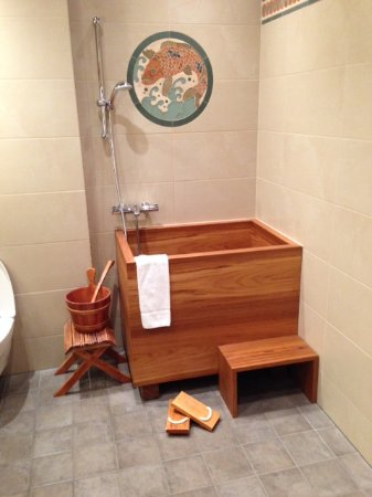 """Hella, Iceland: Here's the """"tub"""" in our """"Japanese"""" bathroom. A scary adventure to get into and out of!"""